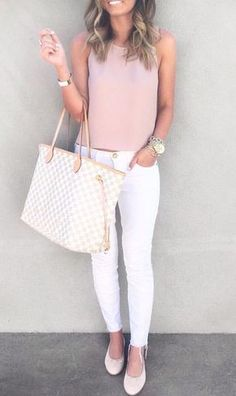 Like the blush color top - like it paired with the white pants (or any white or black bottoms)