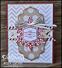 Stampin' Up! stamp set Festive Flurries, matching framelits, Season of Style Designer paper stack, silver ribbon, Pop & Place tag; Pink Buckaroo Designs: Artisan Wednesday Wow- Pop & Place
