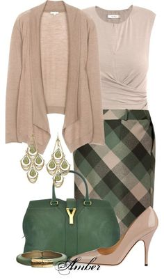 """Forest & Old Rose Plaid Skirt"" by stay-at-home-mom on Polyvore OK I REALLY HATE THE SWEATER. It would be so much better with a cardigan."