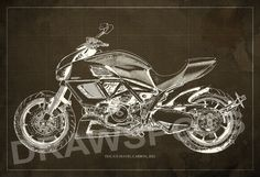 DUCATI Diavel Carbon Blueprint, Art Print 8x12in And Larger Sizes,  Motorcycle Art Print,Original Drawing For Men Cave