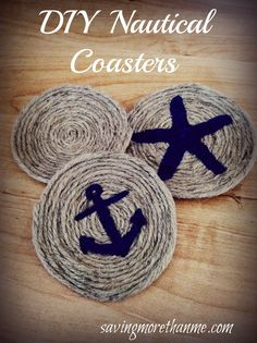 Easy DIY Nautical Rope Coasters! These are so cute! This also includes other great rope coaster ideas as well!