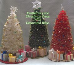 Hand Knitted Lace Christmas Trees. Two versions available: With Decorated Base. Without Base.