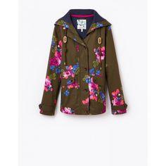 Joules Womens Coast Print Waterproof Jacket In Dark Pine Floral