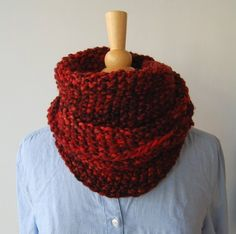 cowlcloseup Cowl, chunky, this is wrap around once. A Loops pattern & their yarn