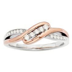 H Star Sterling Silver and 10k Rose Gold Two-tone 1/8ct TDW Diamond Angled Ring (I-J, I2-I3) (Size 9), Women's
