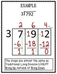 Long Division : Horizontal Box Method- updated by Effortless Math Strategies, Long Division Strategies, Long Division Activities, Math Tips, Math Division, Teaching Long Division, Material Didático, Fourth Grade Math, Math Intervention