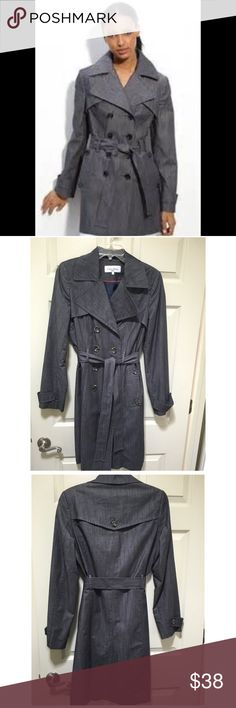 "Calvin Klein double breasted trench size S Classic double breasted trench coat in Denim chambray. EUC, always dry cleaned. No flaws or fading, all buttons and belt accounted for. Wear this over ankle jeans and tennies on the weekend, and over pencil skirt and boots to work. 19"" bust, 18"" waist, 21"" hip, 40"" length.  98% cotton 2% elastane shell, 100% polyester lining. Calvin Klein Jackets & Coats Trench Coats"