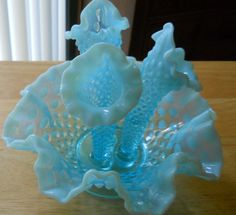 Fenton Glass Collectable Hobnail Powder Blue Opalescent by NewFire, $65.00
