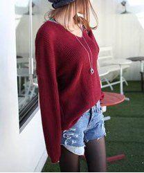 $6.69 Street Style V-Neck Fleece Inside Long Sleeves Sweater For Women
