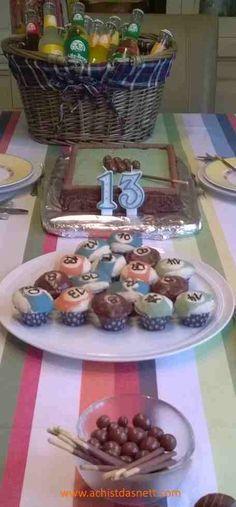 super Idee für einen Teenager-Geburtstag: Billard - Party mit Billardkuchen, Billardkugelmuffins, Anleitungen auf www.achistdasnett.com