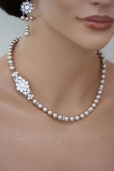 Bridal Necklace Champagne Powder Almond Pearl by LuluSplendor
