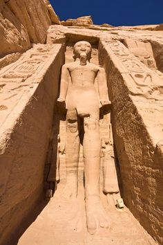 Colossal statue of Ramesses II on the facade of the Temple of Hathor at Abu Simbel, UNESCO World Heritage Site, Nubia, Egypt