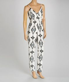 Love this White & Black Tribal Surplice Jumpsuit by Soul Harmony Energy on #zulily! #zulilyfinds