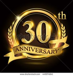 30th golden anniversary logo with ring and ribbon, laurel wreath vector design.