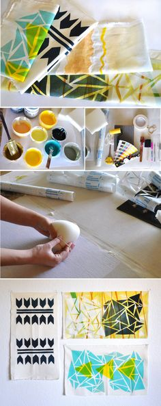 DIY - Print Your Own Fabric Tutorial - a simple and inexpensive way to create your very own fabric pieces. No need for large screens, squeegees, and emulsion. Beautiful prints can be created with simple methods and materials. Most of the supplies are household items and the rest can be found at your local art or craft store. #BestofDIYs