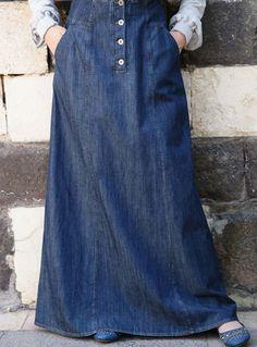 SHUKR Bilqis Denim Skirt- Flattering and streamlined long jean skirts.