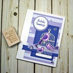 Birds Happy Birthday Tweetings Fancy Greeting Card Handmade in Purple Lavender White for Wife Girlfriend Friend Sister Mom Niece Daughter by JanTink on Etsy