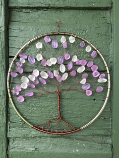 "Drops of Rain (Lilac) - 8"" Tree of Life Suncatcher, Window Ornament; Recycled Glass Beads; Copper Wire by CourtneyGotch on Etsy"