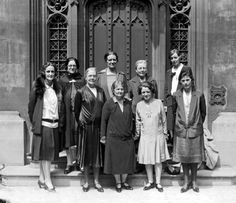 Labour women MPs, outside parliament in 1929. Left to right: Lady Cynthia Mosley (Stoke), Marion Phillips (Sunderland), Edith Picton-Turbervill (The Wrekin), Ethel Bentham (Islington East), and Mary Hamilton (Blackburn). Front row, left to right: Susan Lawrence (East Ham North), Margaret Bondfield (Wallsend), Ellen Wilkinson (Middlesbrough East), and Jennie Lee (North Lanarkshire). The group includes Oswald Mosley's first wife Cynthia on the far left (so to speak).