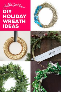 5 different Holiday Wreath Tutorials! Not all wreaths are created equal. Break free from the traditional greenery and welcome guests into your home this holiday season with a little WOW factor! Christmas Time Is Here, Christmas Love, Christmas Holidays, Christmas Ideas, Holiday Wreaths, Holiday Crafts, Christmas Decorations, Holiday Decor, Different Holidays