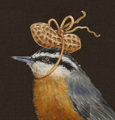 """""""Red breasted Nuthatch w/ peanut"""""""