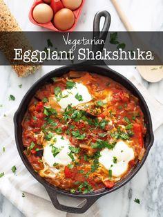 Vegetarian Eggplant Shakshuka - A healthy & hearty Israeli dish. | Typical Domestic Babe
