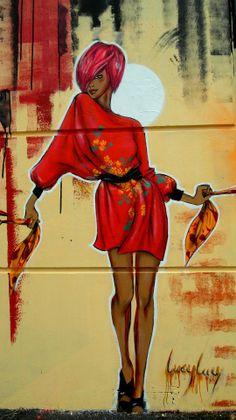 Beauty wow oh wow Urban Street Art, 3d Street Art, Street Artists, Urban Art, Graffiti Art, Stencil Graffiti, Yarn Bombing, Street Art Photography, Portraits