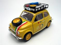 Fiat 500 L Bari To Pechino 2005 Diecast Model 1/16 by Bburago. $12.99. Pre painted die cast body. Coloured plastic interior and chassis. Opening doors. 1/18 scale collectible. Detailed interior. Diecast Body Opening Doors Opening Hood Opening Trunk Detailed Interior Rubber Tires Steerable Wheels Perfectly modeled engine Accurate Gauges and dash inside  Dimensions L-7.5 (Approximate) H-3-25 (Approximate) W-3-5 (Approximate)