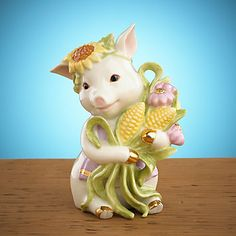 Sunflower Pig Figurine by Lenox