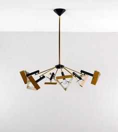 Oscar Torlasco; Brass and Enameled Metal Ceiling Lamp for Lumi, 1950s.