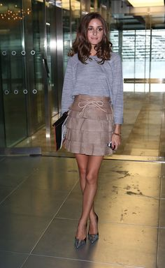 Olivia Palermo Mini Skirt-  Mathew Williamson skirt  Pointy metallic snake-embossed pumps- Elizabeth and James