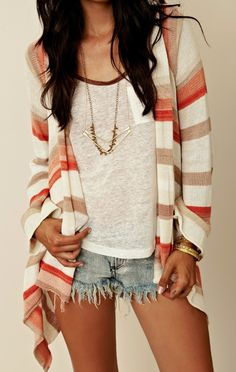 Love the colors on the cardigan.... shorts & cardigans for the fall transition.