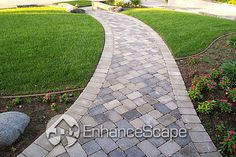 pavestone walkways - Google Search - If we do a random insert on our walkway it must be on  45 degree angle, the 'squared' version looks awful in photos.