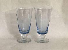 Pair BLUE STEMS Blue Goblets  Blue Stemware Blue Wine