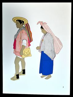 Maya Couple Zinacantan    The Maya woman in this print by Teresa Castello Yturbide is wearing clothing quite similar to the doll shown in the previous posting. From El Traje Indigena en Mexico (1968)