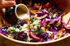 Rainbow Salad: you won't be able to stop eating the rainbow cabbage salad with tahini-lemon dressing from Oh She Glows.