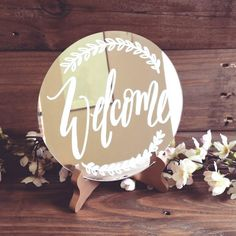 Beautiful Lettered Glass Mirror Sign // Wedding Sign // Welcome Sign // Rustic Vintage Weddings