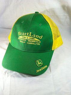 John Deere Heartland Farm & Lawn Mesh Snapback Trucker Hat Green Yellow  #MPCJohnDeere #Snapback