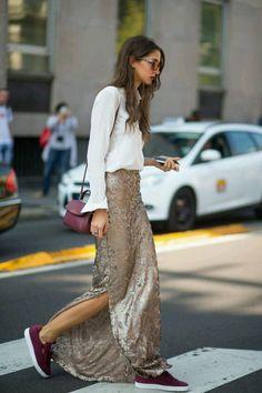 SLFMag - Glittery full sequin embellished skirts. Street style fashion.