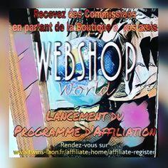 NOUVEAU! Devenez Affiliés sur WebShop World - Nouveau! Devenez affiliés WebShop World et gagnez des euros en parlant de la boutique à vos amis ! Chaque vente générée via votre lien personnel, vous fera gagner 10�e commissions. N'attendez plus ! Inscrivez-vous et profitez de cette offre exceptionnelle pour compléter votre dressing a moindre coût :p