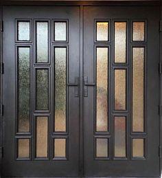 custom mahogany doors and high impact entrance doors ranging from french to carved church doors Double Door Design, Main Door Design, Gate Design, Wooden Window Design, Custom Wood Doors, Window Grill Design, Room Door Design, Double Front Doors, Wrought Iron Doors