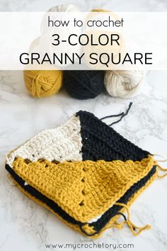Modern look for a classic crochet granny square blanket. How to crochet 3 color granny crochet - easy photo tutorial on my blog www.mycrochetory.com #MyCrochetory #grannysquare #modern #phototutorial #throw #homedecor #crochet #freecrochetpattern
