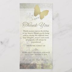Shop Golden Butterfly Thank You Sympathy Card created by Personalize it with photos & text or purchase as is! Words Of Sympathy, Sympathy Thank You Cards, Funeral Thank You Cards, Thank You Note Cards, Wedding Thank You Cards, Card Wedding, Personalized Thank You Cards, Custom Thank You Cards, Personalized Stationery