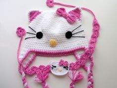 Crochet Kitty Hat and headband -Crochet Baby  Hat  - for Baby or Toddler-Baby Girl Hat. $25.00, via Etsy.
