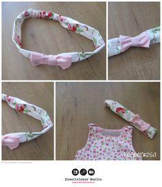 Haarband mit Schleife  Nähanleitung und Schnittmuster: http://www.kreativlaborberlin.de/naehanleitungen-schnittmuster/haarband-mit-schleife-in-5-groessen-baby-erwachsene/