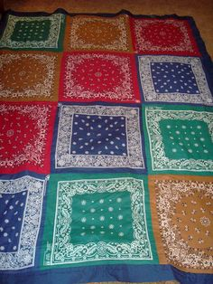 Debby's Bandana Quilt!    Quick & easy picnic or beach quilt, machine quilted so it can be machine washed and dried!  Back it with pre-quilted fabric, a cotton or flannel sheet   so it is practical.