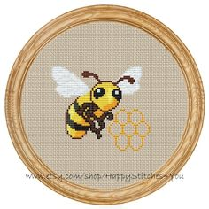 Hey, I found this really awesome Etsy listing at https://www.etsy.com/listing/191728111/cross-stitch-pattern-pdf-honey-bee