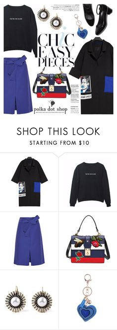 """""""Chic easy pieces!"""" by helenevlacho ❤ liked on Polyvore featuring J.Crew, messengerbag, overcoat, blacksweatshirt and polkadotshop"""