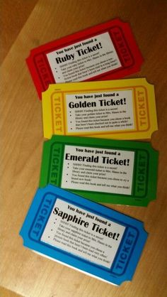 Tickets hidden in library books! My version of the golden tickets has different colors to use in different genres. Hide these in library books that have not been checked out in a while. The green ones will encourage the students to try a new book too. Middle School Libraries, Elementary School Library, Class Library, Library Books, Elementary Schools, Library Ideas, Reading Books, Elementary Library Decorations, School Library Decor