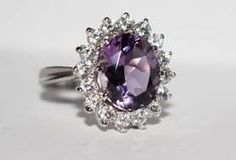 Silver ring with large amethyst and fianits Sold by Jewellry 157,00 $